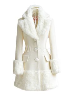 White Notch Collar Long Sleeve Buttons Faux Fur Coat - Save Up to 70% Off on fabulous fashion trend products at Milano with Coupon and Promo Codes.