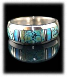 Navajo hand inlaid Sterling Silver Ring Band with top grade Tibetan Turquoise, Opal, and Black Jade