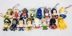 Complete Set of 16 KINNIKUMAN Panson Mini Figure Key holder Chain JAPAN ANIME