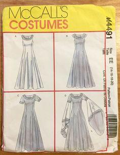 McCall/'s 4340 Misses Renaissance Cape Dress Corset Costume Pattern 14-16-18-20