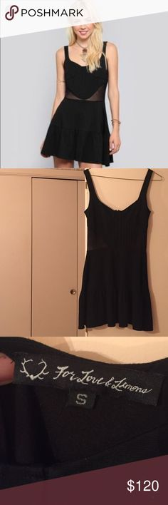 For love and lemons black dress For love and lemons sheer dress, worn once it's too big on me. I'm usually a size small but for love and lemon I'm a size xsmall. Please feel free to ask any questions. For Love and Lemons Dresses Mini