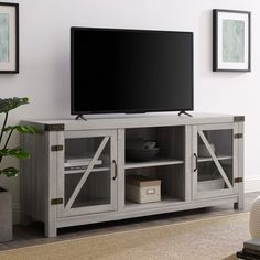 58 Inch Rustic Farmhouse TV Stand - Stone Grey | RC Willey Furniture Store