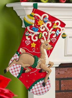 Ornamental Deer Bucilla Christmas Stocking Kit