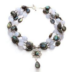 A glamorous neckpiece in soothing chalcedony and shiny labradorite for an attire that suits every party you attend code DN0094LAB -14 visit us at www.metallierjewellery.com #Jewellery #jewelry #necklace #fashion #glamorous #USA #Australia #India #london #germany #russia #Paris #china #southamerica #UK #Silver
