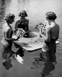 vintageeveryday: Girls playing cards ca. vintage retro nostalgia history black and white photography woman girl fashion playing cards swimsuit