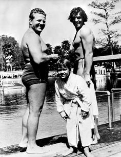 """Johnny Weissmuller, Johnny Sheffield, and Newt Perry during filming of """"Tarzan Finds a Son!"""" (1938) 