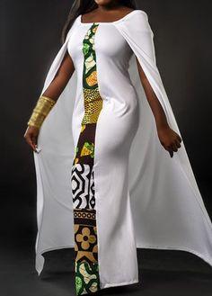 Cloak Design Round Neck Printed Dress