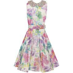 Alice + Olivia Lollie Pleated Skirt Embellished Dress With Belt ($797) ❤ liked on Polyvore