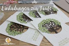 Stampin Up Einladungen zur Taufe mit Wald der Worte beim Stempeltier gemeinsam kreativ Baum Kreuz Segenswünsche