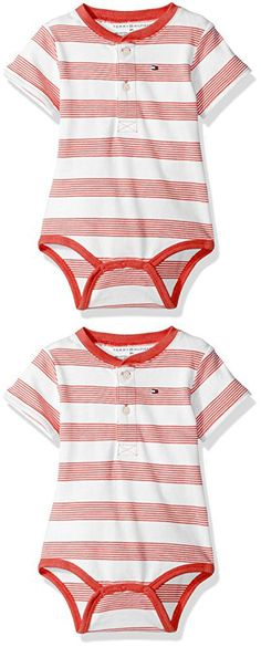 Tommy Hilfiger Baby Boys' Short Sleeve Striped Walli Bodysuit, Flame Scarlett, 6 Months