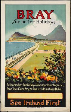 Visit Bray, Ireland-  1930's Vintage Travel Poster *INSTANT DOWNLOAD* - Digital-JPG -Photo-Antique Vintage Old print, photograph