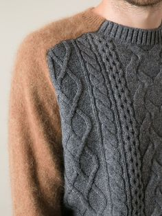 Sacai contrasting sleeves cable knit sweater