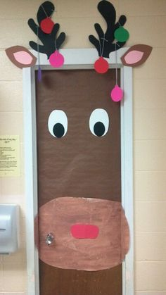 Reindeer door for classroom at Christmas.