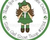 Personalized Stickers, Girl Scout, Cookies, Girl, Kids, Party, Favor stickers,Labels,Custom, Simply Sweetness Sticker Labels Set of 24