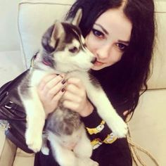 #black #long #hair #black #outfit #dog #husky