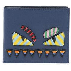 Fendi Stripe Monster Leather Wallet (€575) ❤ liked on Polyvore featuring men's fashion, men's bags, men's wallets, fendi mens wallet and mens leather wallets