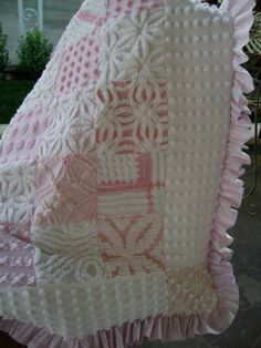 Sale  PINK Princess   Baby Quilt with VINTAGE Chenille by TWFaith