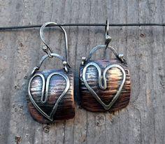 Dangle+Drop+Heart+Earrings+Textured+Copper+Sterling+by+LjBjewelry