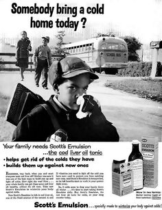 Scott's Emulsion Cod Liver Oil Tonic Advertisement - Ebony Magazine, December, 1959 by vieilles_annonces, via Flickr Cod Liver Oil, Your Family, Helpful Tips, Home Remedies, Rid, December, Bring It On, Magazine