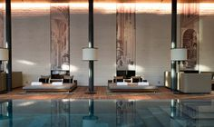 Indoor pool with lounge area at The Chedi Andermatt, Swiss Alps, #Switzerland