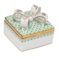 Herend Box with Bow (Assorted Colors) | More Herend Figurines | Herend Figurines | Collectibles | ScullyandScully.com