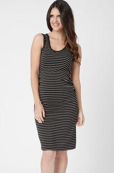 29f660773b254 Ripe Maternity Mia Stripe Tank #maternity Dress in Black/Almond - Ella Bella  Maternity