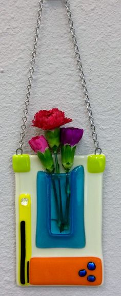 Fused Glass Pocket Vase With Green Dichroic By Mtbaldyglassworks
