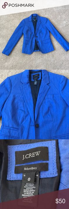 J Crew blazer J Crew Schoolboy Blazer in Casablanca Blue - this is a beautiful jacket that I wore only to work when I was at J Crew. It's in like new condition. Perfect for the winter to spring transition! J. Crew Jackets & Coats Blazers