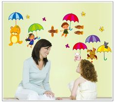 wall decor stickers -Children and Bears Dog with Umbrella with Butterflies and Birds DIY Nursery Room Wall Decal Decor
