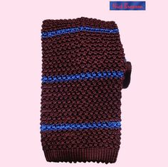 NICK BRONSON - RADI STRIPE - GRENATE WITH MARE STRIPE - WINE WITH BLUE STRIPE http://www.kjbeckett.com/mens/accessories/ties/buy/kj_beckett/knitted_ties.html