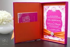 inside of the pink & orange boxed wedding invite designed by Lela New York