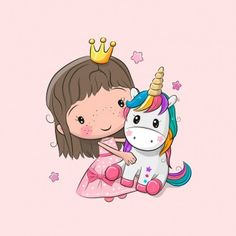 Fabric cotton fabric PANEL princess with unicorn pink 38 x 38 cm Unicorn Drawing, Unicorn Art, Rainbow Unicorn, Unicorn Wallpaper Cute, Unicorn Pictures, Mermaid Art, Baby Kind, Unicorn Birthday Parties, Cute Cartoon