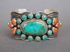 Stunning Navajo Cluster Bracelet Guy Hoskie, Navajo Nation