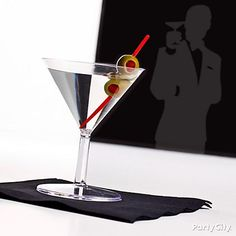 James Bond mocktail: Sprite garnished with olives or a lemon peel