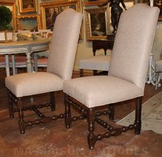Pair of antique French walnut side chairs, circa 1850