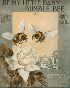 art Vintage Bee & Beehives - Bee Decor Vintage Bee & Beehive Beehive Decor - Beautiful Bumble Bees - The Beehive Shoppe Baby Bumble Bee, Bumble Bees, Vintage Cartoons, Buzzy Bee, I Love Bees, Vintage Bee, Vintage Walls, Bee Art, Vintage Sheet Music