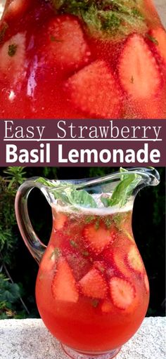 Easy strawberry basil lemonade recipe Italian style, with hints of fragrant fresh basil and exotic vanilla. Perfect for freezing into homemade popsicles! Blueberry Lemonade Recipes, Easy Strawberry Lemonade Recipe, Healthy Lemonade, Honey Lemonade, Flavored Lemonade, Best Lemonade, Homemade Lemonade Recipes, Strawberry Balsamic, Fresco