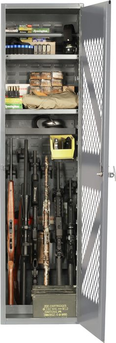 Model 1824 Gun and Gear Storage Cabinet. All welded steel construction with CradleGrid system for six weapon and two adjustable shelves for gear.