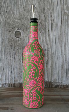 Hand Painted Wine bottle Olive Oil Pourer Candy by LucentJane