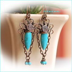 Copper Turquoise Howlite Earrings by melekdesigns, via Flickr