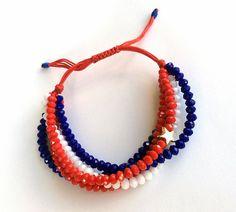 Beaded Bracelet Statement Bracelet Red Blue White by GULDENTAKI