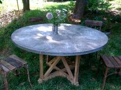 """Round 60"""" Zinc Rivet Top Dining Table   Natural Stretcher Base  Custom Sizing Available"""