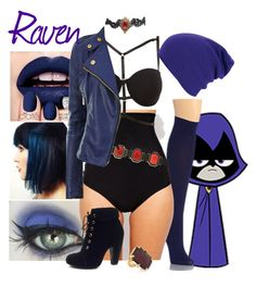 """""""Teen Titans Go! - Raven"""" by mssjones ❤ liked on Polyvore featuring Hue, SPANX, Charlotte Russe, Erickson Beamon, Ciaté, Alberta Ferretti and Bamboo"""