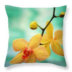 Throw Pillow featuring the photograph Dendrobium by Allan Seiden - Printscapes