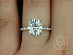 Darcy 10x8mm 14kt White Gold Oval F1 Moissanite and Diamonds