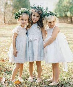 Flower girls with dusty blue