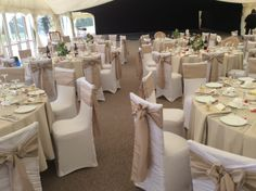 styling by Jayne from Ambience Derbyshire (http://www.ambiencevenuestyling.com/contact-us/wedding-chair-covers-derbyshire/) at #Osmaston Hall #taupe #taffeta #sash #marque #spandex #chaircovers #white