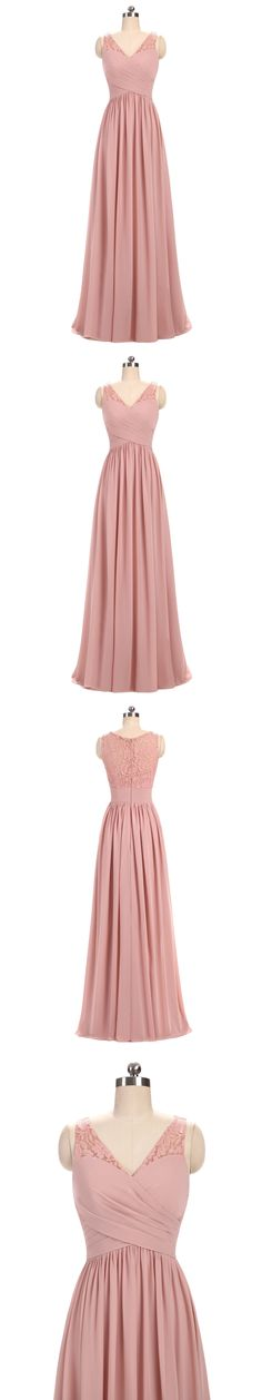 A-line V-Neck Floor-Length Chiffon Lace Pink Bridesmaid Dresses 2827#bridesmaiddresses#2018 #pink #simple #elegant #woman-fashion #special #bohoprom
