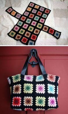 Felted Granny Square Tote Bag Bolsa de quadradinhos da vovó