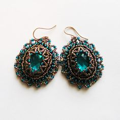 Bead embroidery Turquois crystals earrings with by LIAKURZ on Etsy, $45.00